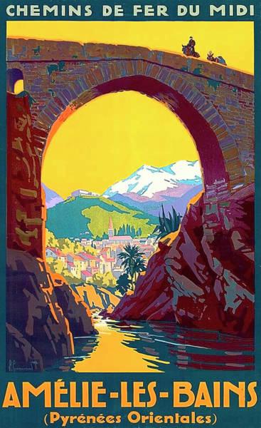 Le Ban, Pyrenees, France, Old Bridge Poster