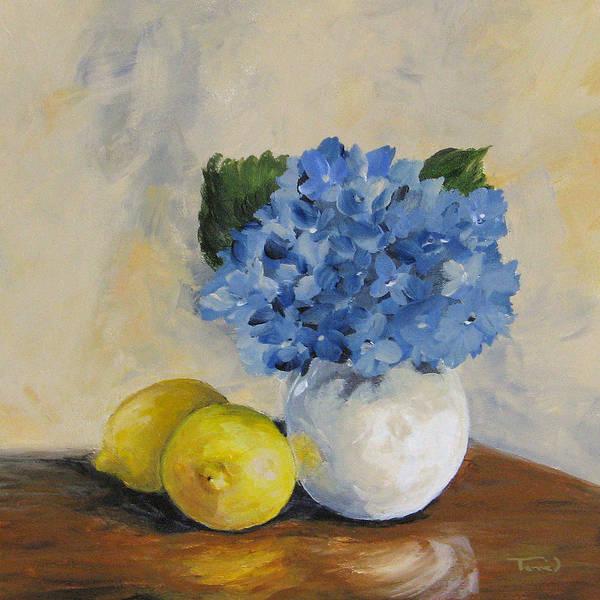 Lemons With Hydrangea Poster
