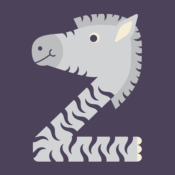 Letter Z - Animal Alphabet - Zebra Monogram Poster