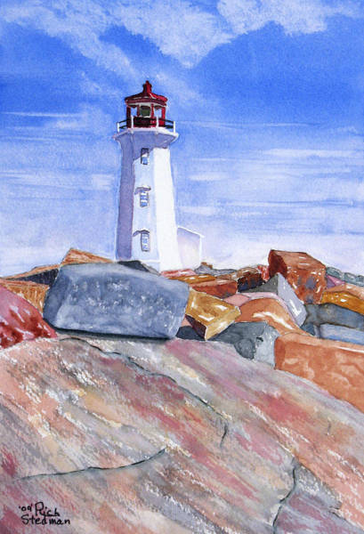 Poster featuring the painting Lighthouse Peggys Cove by Rich Stedman