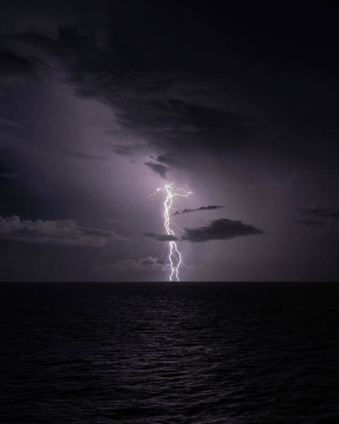 Lightning At Sea I Poster