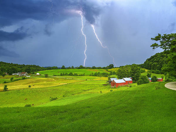 Lightning Storm Over Jenne Farm Poster