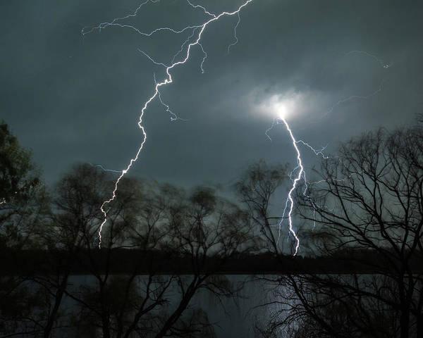Lightning Over Little Sugarloaf Poster