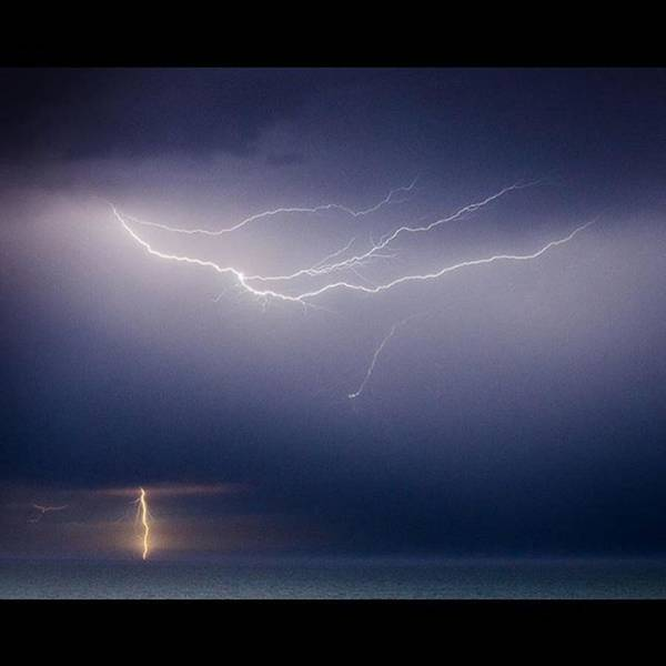 Lightning Over The Atlantic Ocean Poster