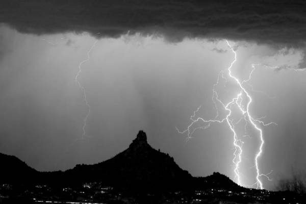 Lightning Thunderstorm At Pinnacle Peak Bw Poster