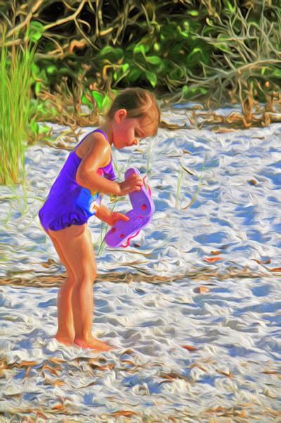 Little Beach Girl With Flip Flops Poster
