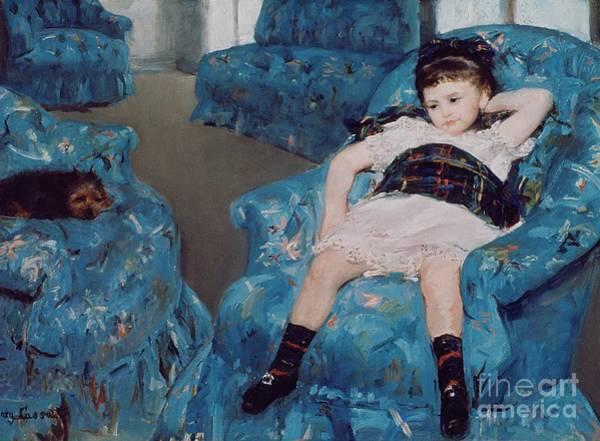 Little Girl In A Blue Armchair Poster
