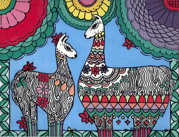 Poster featuring the painting Llama Mama by Caroline Sainis