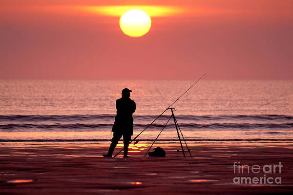 Llangennith Fishing At Sundown Poster
