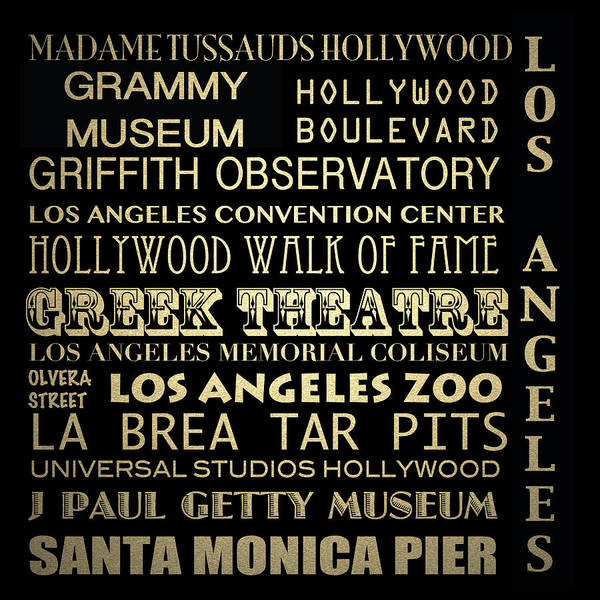 Los Angeles California Famous Landmarks Poster