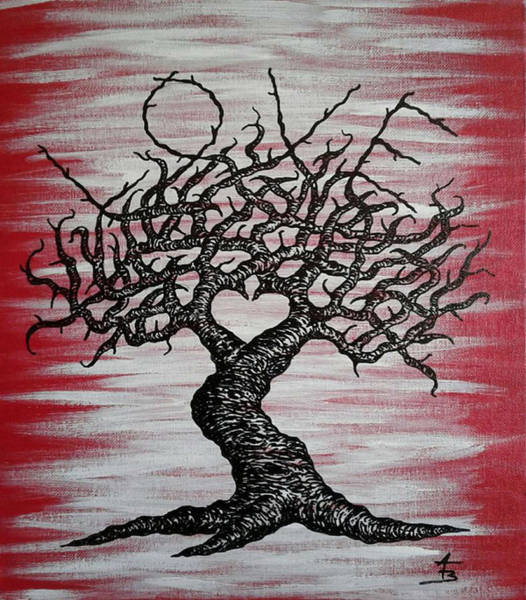 Poster featuring the drawing Love Tree Art by Aaron Bombalicki