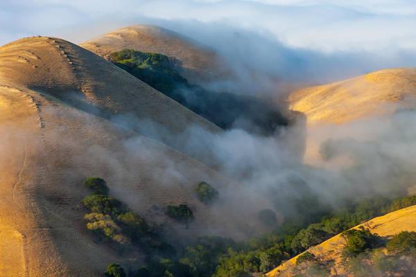 Low Clouds Between Hills Poster