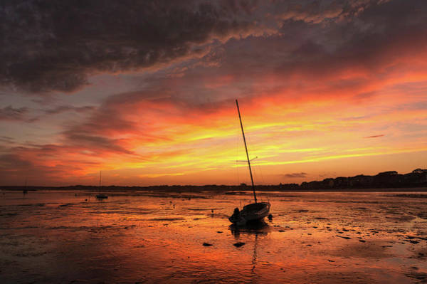 Low Tide Sunset Sailboats Poster