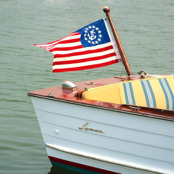 Vintage Mahogany Lyman Runabout Boat With Navy Flag Poster