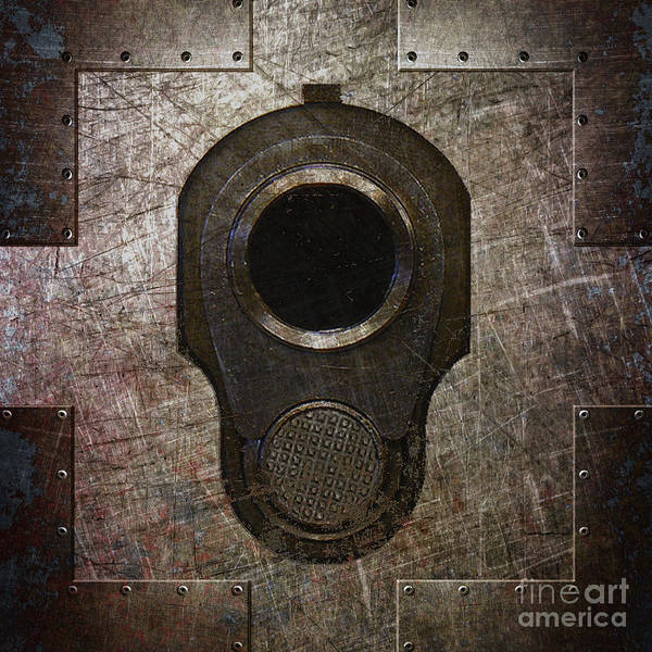 M1911 Muzzle On Rusted Riveted Metal Dark Poster