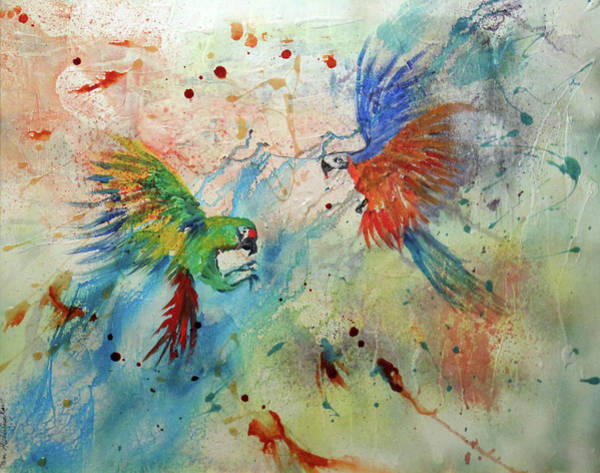 Macaws In Flight Poster