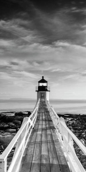 Maine Marshall Point Lighthouse Vertical Panorama In Black And White Poster