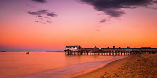 Maine Old Orchard Beach Pier At Sunset Poster