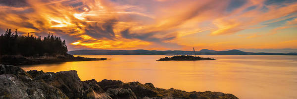Maine Rocky Coastal Sunset In Penobscot Bay Panorama Poster