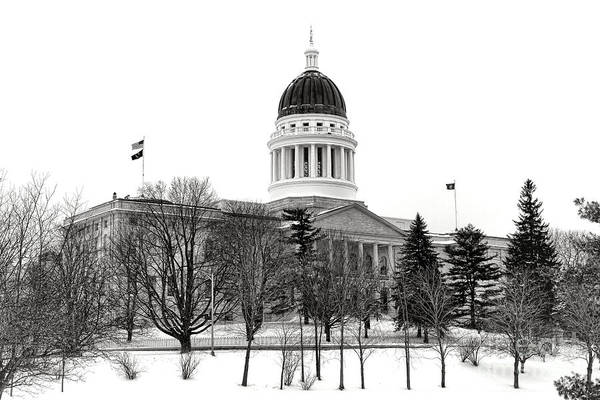 Maine State Capitol In Winter Poster