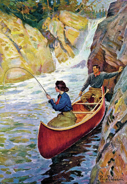 Man And Woman In Canoe Poster