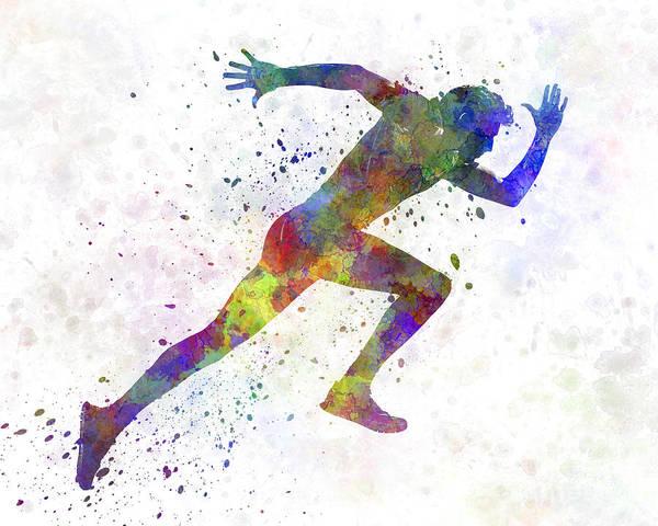Man Running Sprinting Jogging Poster
