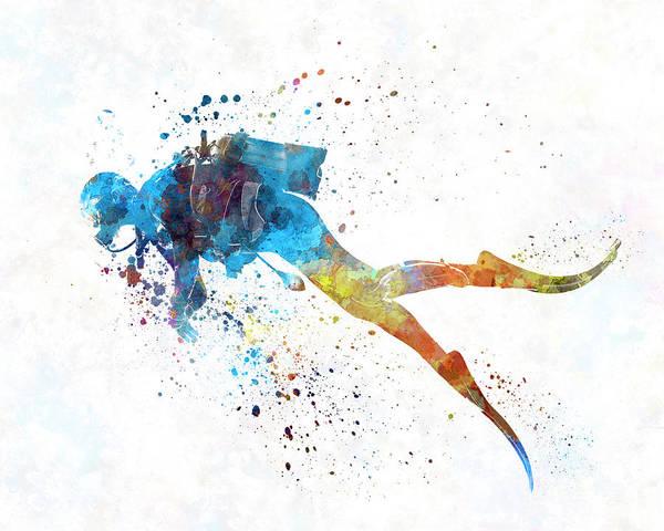 Man Scuba Diver 01 In Watercolor Poster