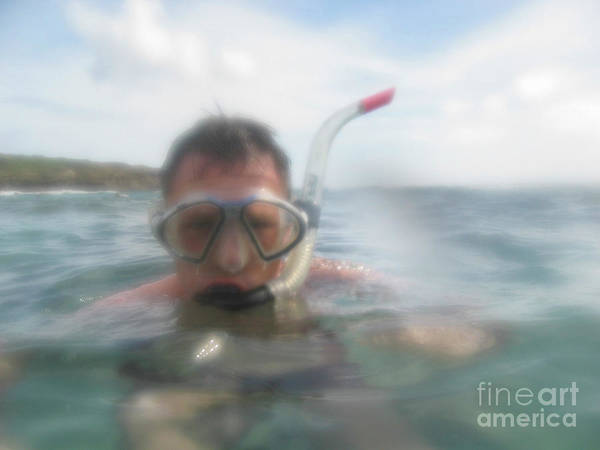 Man Snorkling In Close Up Poster
