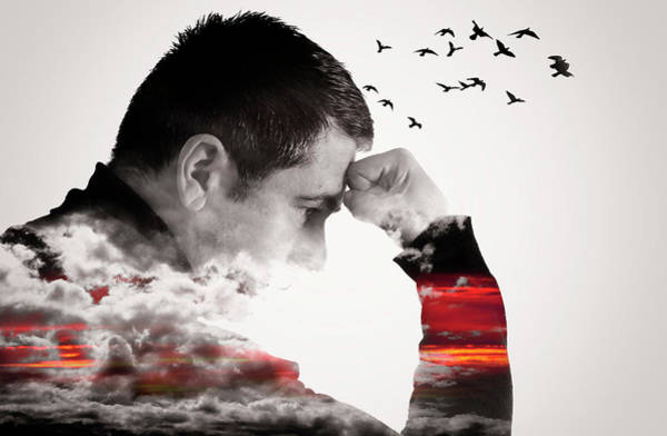 Man Thinking Double Exposure With Birds Poster