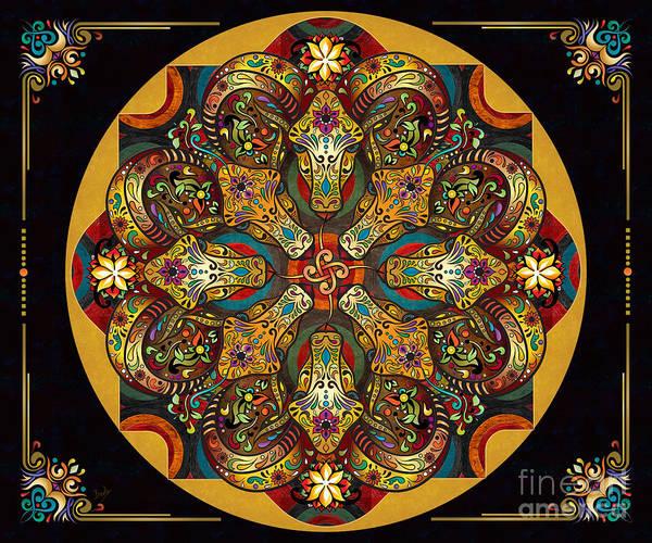 Mandala Sacred Rams - Dark Version Sp Poster