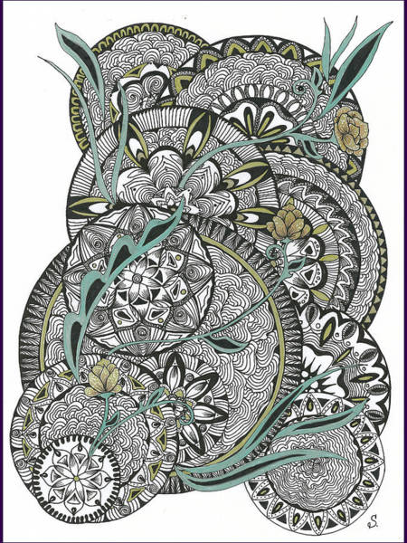 Mandalas With Gold Flowers Poster