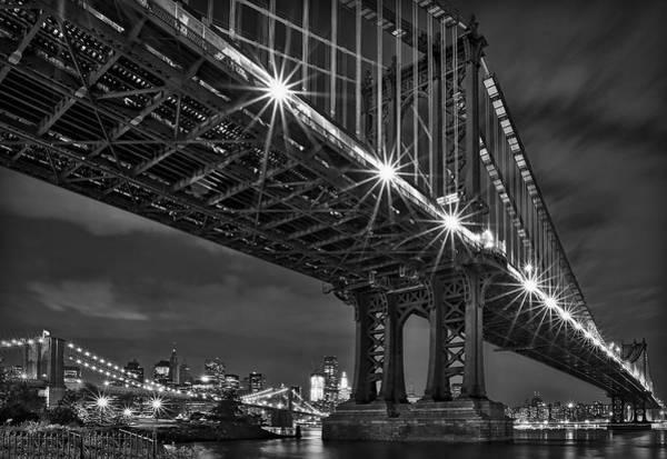 Manhattan Bridge Frames The Brooklyn Bridge Poster