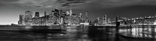 Manhattan Skyline At Dusk From Broklyn Bridge Park In Black And  Poster