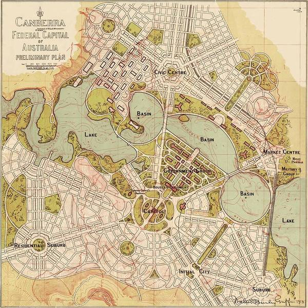 Map Of Canberra 1913 Poster