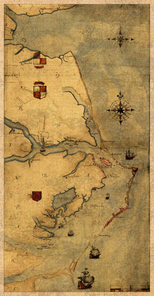 Map Of Outer Banks Vintage Coastal Handrawn Schematic On Parchment Circa 1585 Poster