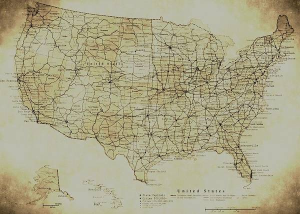 Map Of The United States In Digital Vintage Poster