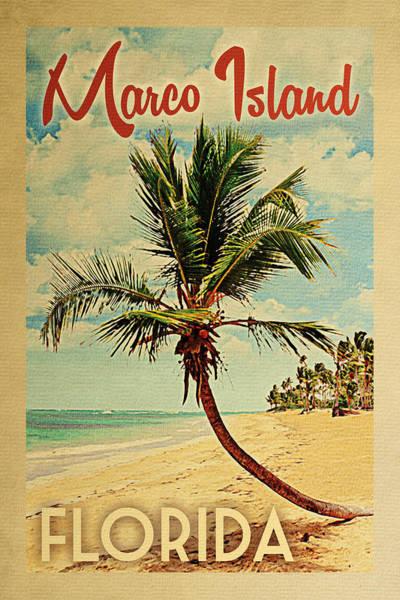 Marco Island Florida Palm Tree Poster