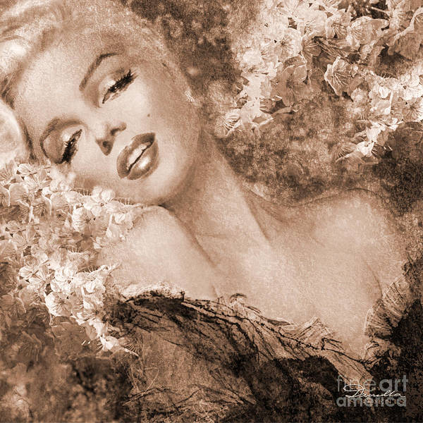 Marilyn Cherry Blossoms, Sepia Poster