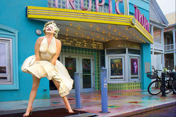 Marilyn Monroe In Front Of Tropic Theatre In Key West Poster