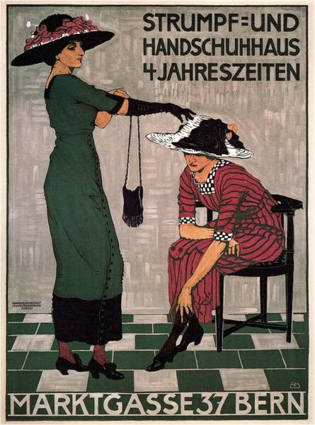 Marktgasse 37 - Bern, Switzerland - Stocking And Glove Store - Vintage Advertising Poster Poster
