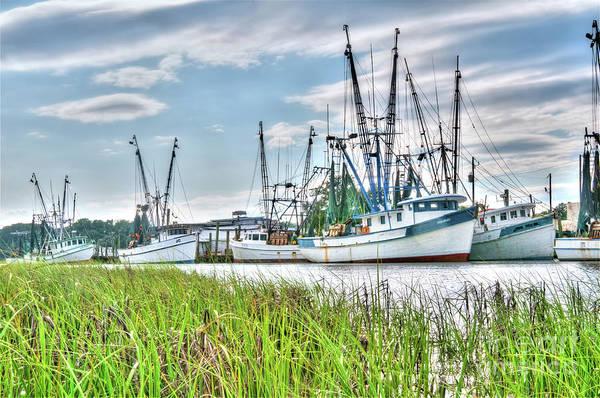 Marsh View Shrimp Boats Poster