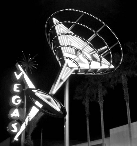 Martini Sign In Vegas B-w Poster