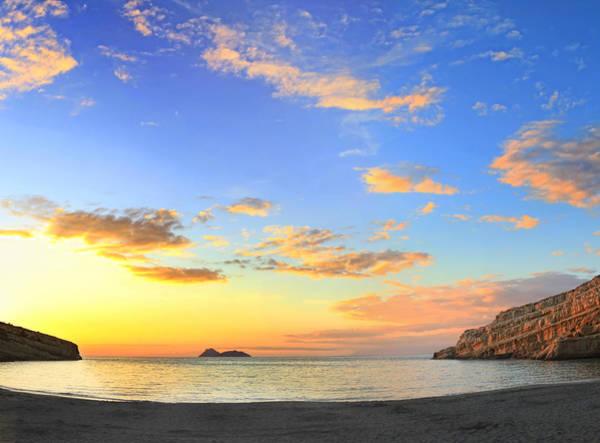 Matala Bay Sunset Poster