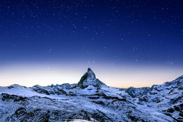 Poster featuring the photograph Matterhorn Night by Nikos Stavrakas