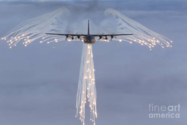 Mc-130h Combat Talon Dropping Flares Poster