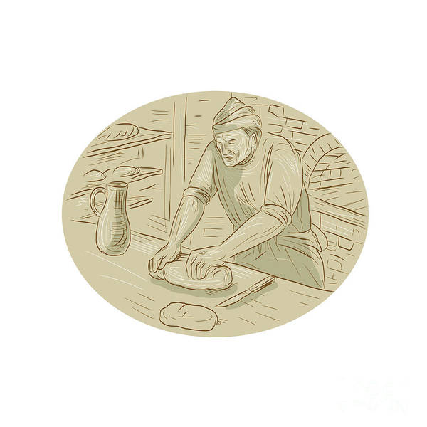 Medieval Baker Kneading Bread Dough Oval Drawing Poster