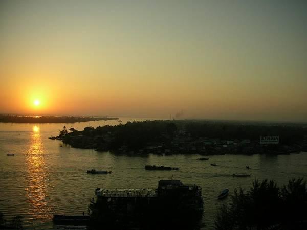 Mekong River Morning Sanrise Traffic Poster