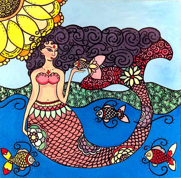 Poster featuring the painting Mermaid With Fish by Caroline Sainis