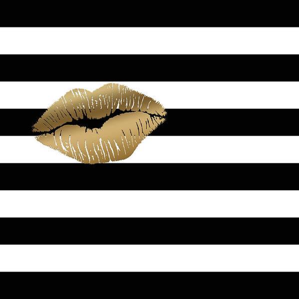 Metallic Gold Lips Black And White Stripes Poster