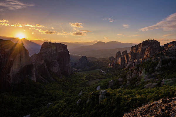 Poster featuring the photograph Meteora Sunset by Nikos Stavrakas